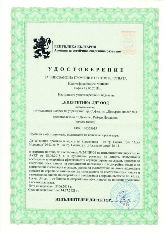 Удостоверение за енергиен одит на сгради